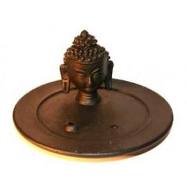 Голова Будды на тарелке подставка под благовония, керамика, d=14см