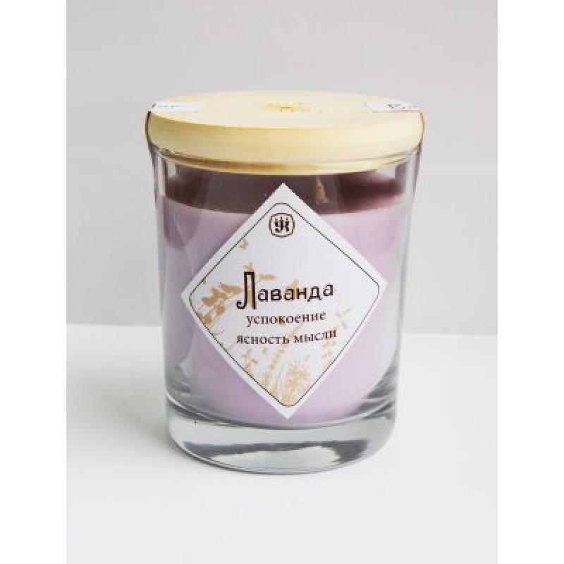 Ароматическая свеча с маслом лаванды 9 см, 200 г, 30 ч