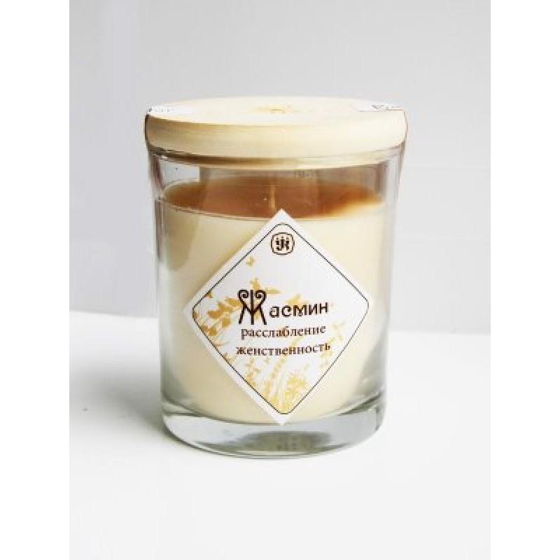 Ароматическая свеча с маслом жасмина 9 см, 200 г, 30 ч