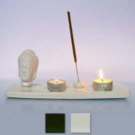 Подставка Голова Будды под благовония и свечи глина